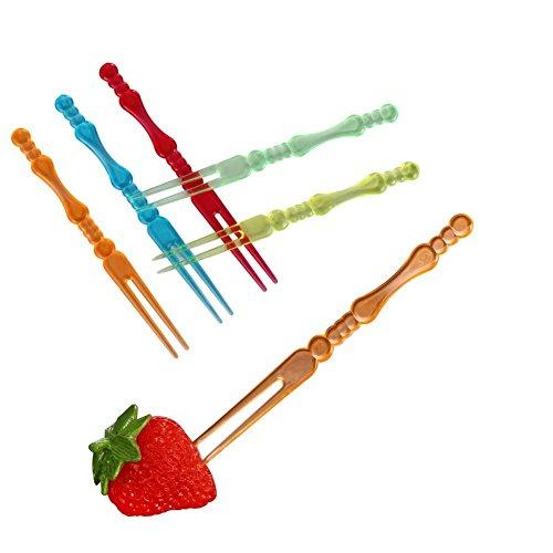 (4 inch Plastic Disposable Fruit Forks Cocktail Sticks Party Supplies Plates Picks Dessert Forks Cake Forks (400pcs Multicolor) For Kids Transparent Candy Color )