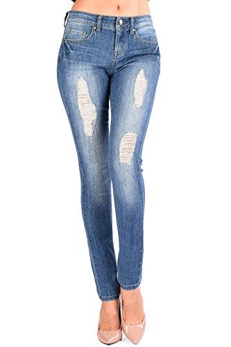 The Classic Women Slightly Distressed Straight Skinny Denim Jeans in Medium Wash - 13 (Sleek Skinny Jeans Straight)