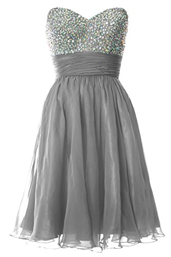 MACloth Women Strapless Chiffon Short Prom Dress Formal Cocktail ...