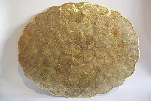 OVATIONS GIFTS AMBER CAPIZ/GOLD SCALLOP EDGE OVAL PLACEMAT 14X18 4PCS IN A PACK (Placemats Capiz Shell)