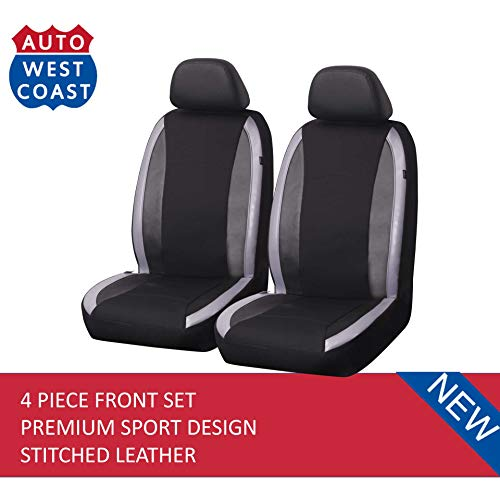 West Coast Auto Car Seat Covers Set for Auto, Truck, Van, SUV - Premium Level Leather Sports Design, Airbag Compatible, Universal Fit (4 Pieces Front Gray)