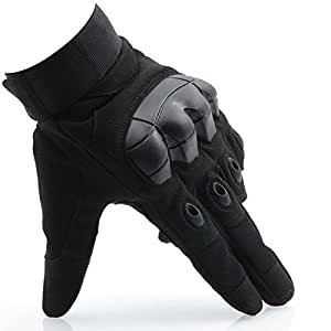 OMGAI Men's Motorcycle Gloves Full Finger Tech Touch Smart Gloves for Tactical Airsoft Outdoor Sports Black, M