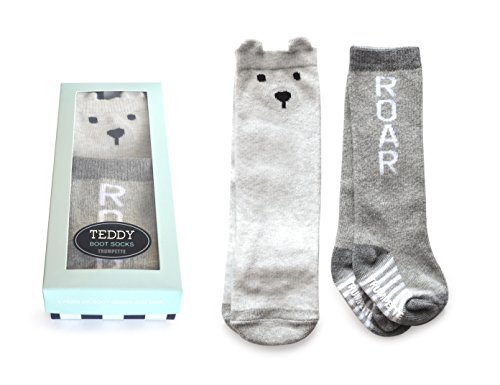(Trumpette Baby Boot Sock Set-2 Pairs, teddy grey, 0-12 Months)