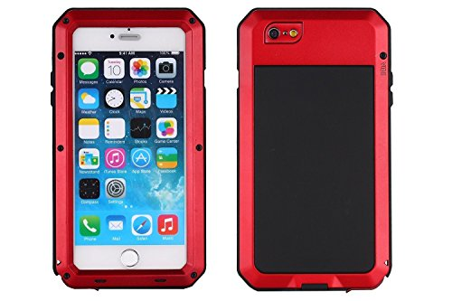 iPhone 6 Case, Shockproof Dustproof Waterproof iPhone 6S Case Aluminum Alloy Metal Glass Cover Case For Apple iPhone 6 /iPhone 6S 4.7 inch-Red