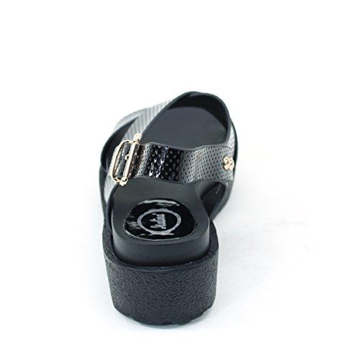 Nouvelle Brieten Womens Boucle Casual Confort Épaisse Semelle Sport Sandales Noir