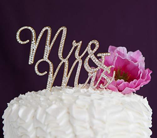 Diy Monogram Cake Topper - Gold Mr & Mrs Cake Topper, Wedding Rhinestones Twinkle DIY Glitter Mr & Mrs Cake Decorating Mold Cake and Chocolate Decorating