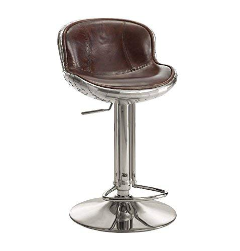 ACME Furniture 96556 AC-96556 barstools, Vintage Brown Top Grain Leather/Aluminum