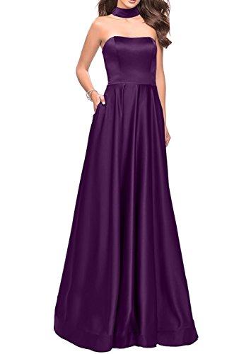 Partykleider Satin Abendkleider Traube Brautjungfernkleider Einfach Lang Charmant Damen Abschlussballkleider Traube Bgxw0Z0q