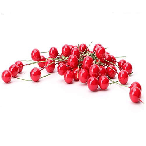 (VEIREN 100Pcs Fake Fruit Artificial Cherries Lifelike Simulation Decoration for Parties Kictchen Ornament House Decor)