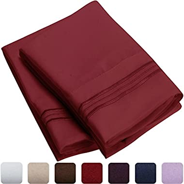 Mellanni Luxury Pillowcase Set - HIGHEST QUALITY Brushed Microfiber 1800 Bedding - Wrinkle, Fade, Stain Resistant - Hypoallergenic (Set of 2 Standard Size, Burgundy)