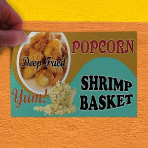 (KARPP Decal Sticker Deep Fried Popcorn Yum! Shrimp Basket Popcorn Shrimp Store Sign (7 inch x 5 inch) for Home, Car Bumper, All Weather Indoors Outdoors)