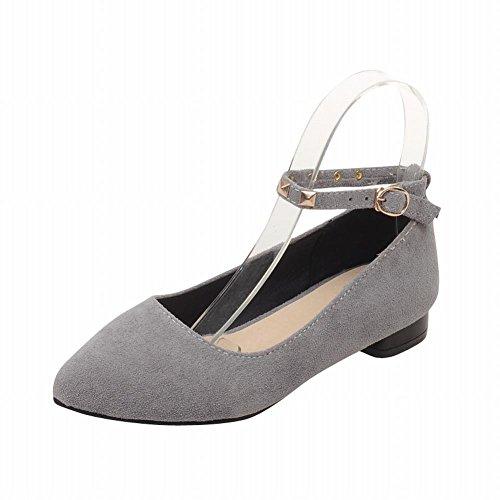 Mostra Brillare Moda Donna Rivetti Cinturino Alla Caviglia Fibbia Mary Jane Flats Scarpe Grigio