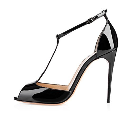 elashe Womens High Heel Sandals| Peep Toe T-strap 10cm Pumps | Ankle Buckle Wedding Dress Shoes Black oxSejlc9