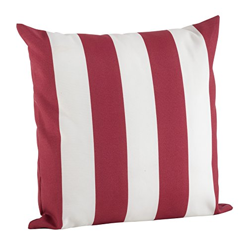 SARO LIFESTYLE 1902.R17S Indoor/Outdoor Classic Awning Stripe Poly Filled Throw Pillow, Red, - Awning Bedding Stripe