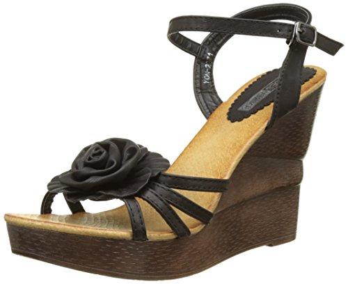 12cm High Heel Keil Frauen schwarz Blume Sandalen wApwz