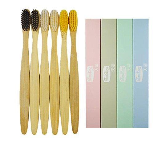 6 unidades bambú Cepillo de dientes de bambú ecológico, de madera natural. Cepillo de dientes hecho con carbón de bambú con cerdas suaves