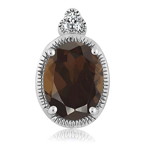 Gem Stone King 10K White Gold Oval Brown Smoky Quartz Diamond Pendant 0.75 cttw