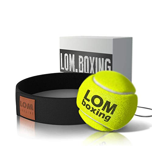 lom Boxing Ball Reflex, Fight Ball, Adjustable String and Headband for Kids and Adults, Boxing Headband Boxing Tennis Ball, Better Than Rubber Ball, Boxing Equipment Gift,Training - Boxer Head