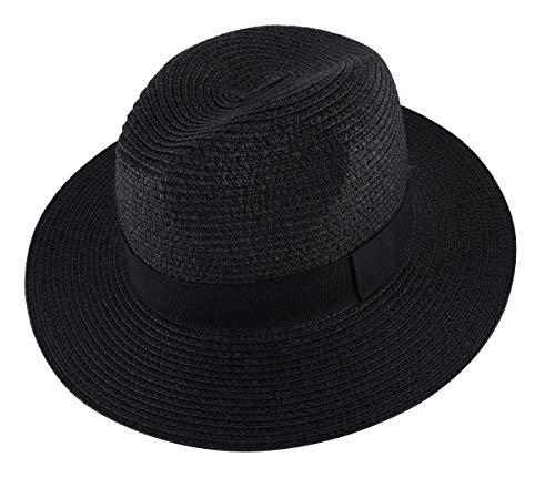 Lanzom Men Wide Brim Straw Foldable Roll up Hat Fedora Summer Beach Sun Hat UPF50+ (Style A-Black, Medium Size:Fit for 22.5
