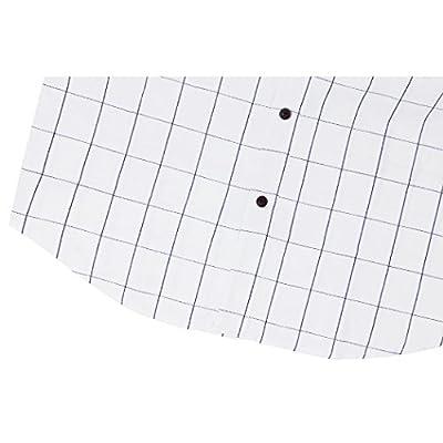 MiCotton Men's Cotton Casual Short Sleeve Plaid Slim Fit Button Down Dress Shirt