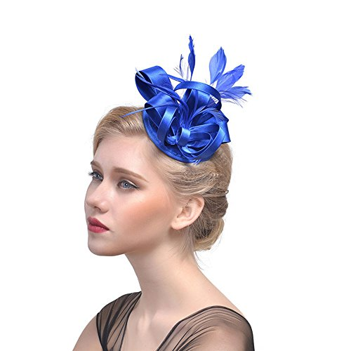 (Humasol Women's Vintage Feather Fascinator Hat Wedding Bridal Headband With Hair Clip for Party)