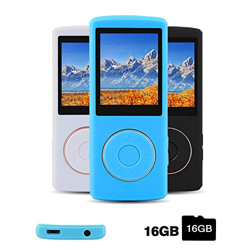 Ueleknight MP3/MP4 Player with a 16G Micro SD Card, Portable Lossless Sound Player with Mini USB Port, Also Support Ebook, Image, 1.8 inches LCD Screen MP3 Music Player – Blue