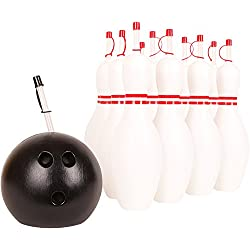 Kangaroo Water Bottles; 12 Bowling Pin & Bowling Ball Sippy Cups w/ Straws (13-Count)