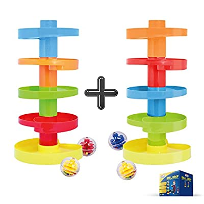 Ball Drop 2 Sets of Swirl Ball Ramp | Educational Family Fun for Baby and Toddler | Stack Them Higher