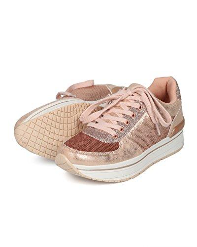 Alrisco Kvinner Sequin Og Glitter Snøring Jogger Sneaker - Hh10 Av Qupid Samling Rose Gull Mix Media