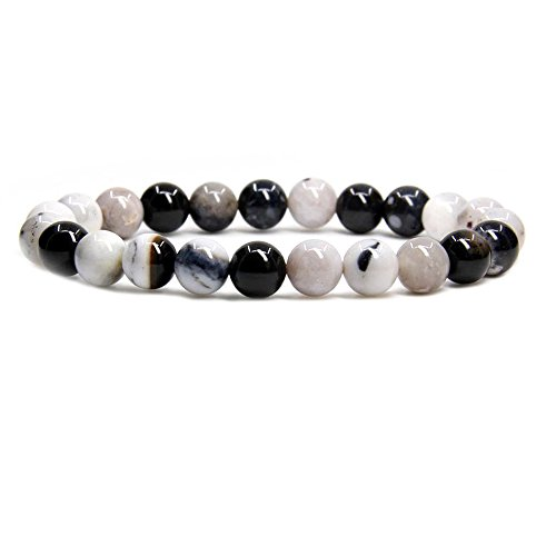 Amandastone Darral Dendrite Agate Gem Semi Precious Gemstone 8mm Ball Beads Stretch Bracelet 7