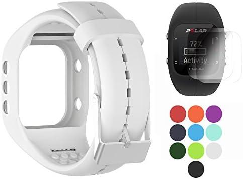 Polar A300 Banda con protector de pantalla, TUSITA Sustitución de silicona Correa Brazalete WristBand Accesorio para Polar Smart Watch (BLANCO)
