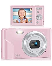 $48 » Digital Camera, Lecran FHD 1080P 36.0 Mega Pixels Vlogging Camera with 16X Digital Zoom, LCD Screen, Compact Portable Mini Cameras for Students, Teens, Kids (Pink)