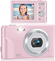 Digital Camera, Lecran FHD 1080P 36.0 Mega Pixels Vlogging Camera with 16X Digital Zoom, LCD Screen, Compact P