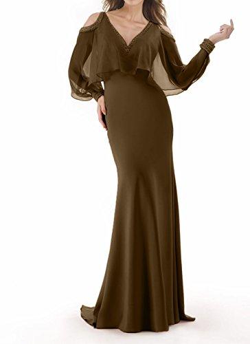 etuikleider Promkleider Braun Elegant Chiffon Brautmutterkleider Damen Charmant Meerjungfrau Abschlussballkleider zwS0qSA