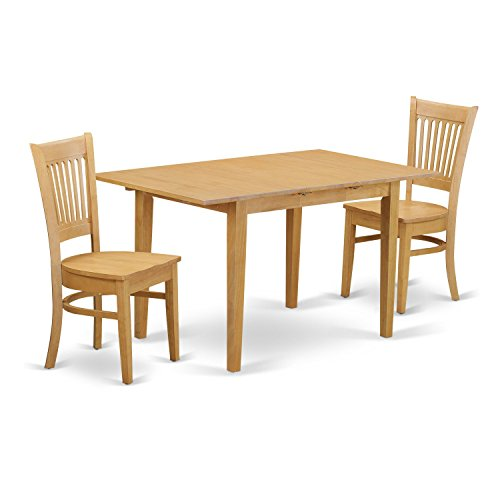 East West Furniture NOVA3-OAK-W 3 Piece Kitchen Dinette Table and 2 Chairs Set