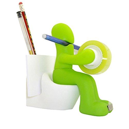 FUNNY GIFT!!! Hongxin Funny Silicone Toilet Man Holder Tape Dispenser/Pen/Memo/Clip Holder Office Storage Rack Decor Creative Gift (Shape Magnetic Memo Holder)