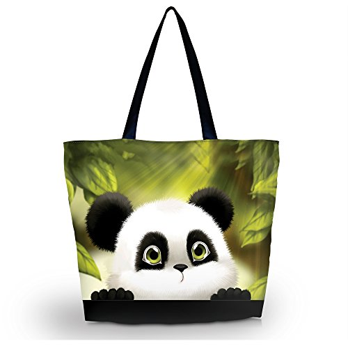 Newplenty Ladies Zippered Light Shoulder Shopping Tote Bag Handbag Beach Satchel (Panda)