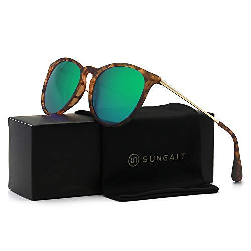 SUNGAIT Vintage Round Sunglasses for Women Girl Classic Retro Designer Style (Polarized Green Mirror Lens/Amber Frame) 1567 PGHPKLV ()