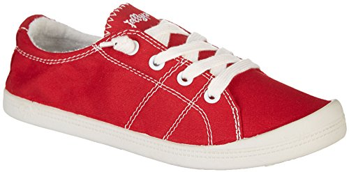 Jellypop Dallas Womens Slip On Sneakers Red Canvas 7.5 (Stripes Women Sneakers Red)