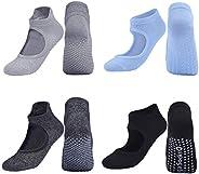 GeeRic Yoga Socks Non-Slip Women's Yoga Socks 4 Pack Grips Slippers Socks for Pilates Dance Barre Workout Ball
