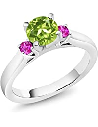 1.16 Ct Round Green Peridot Pink Sapphire 925 Sterling Silver Engagement Ring