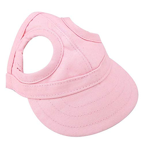 Qiterr Cute Pet Dog Cat Baseball Outdoor Cap Sunbonnet Adjustable Stripe Summer Travel Sport Hat(S-Pink) -