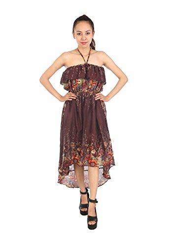 Lofbaz Maxikleid Damen boho kleid Sommerkleid Harem Maxi Boho Kleid-Strandkleid Flower Braun