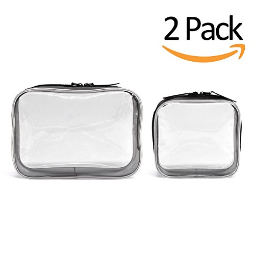 Clear Toiletry Makeup Bags, PVC Plastic Travel Cosmetic Bag with Zipper (Small Size, 2 Pack)