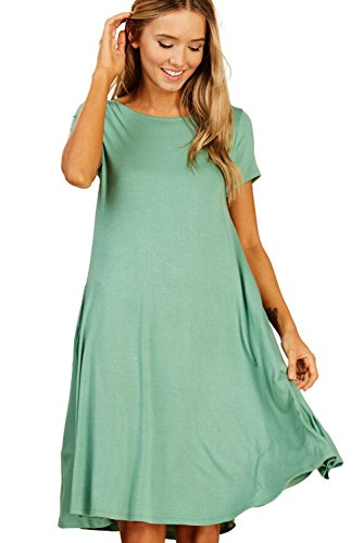 Trapeze Dress (Annabelle Women's Solid Round Neck Short Sleeve A-Line Mini Swing Dress With Side Pockets Sage Large D5213)