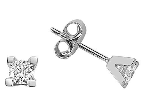 Boucles d'Oreilles Diamant Solitaire 0.41 Carat-Femme- or Blanc 223E0005