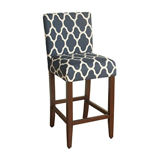 HomePop Geo Brights Upholstered Barstool, 29-inch, Navy and Cream Geometric For Sale