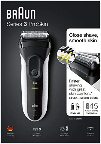Braun Series 3 ProSkin 3020s Afeitadora Eléctrica Inalámbrica Y Recargable, Máquina de Afeitar para Hombre, Negro/Blanco: Amazon.es: Salud y cuidado personal