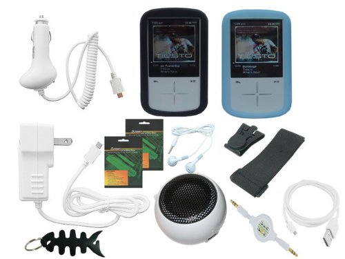 (iShoppingdeals - Black/Blue Skin Case + Car Charger + Travel AC Charger + USB Data Cable + 3.5mm Audio Cable + Rechargeable Speaker + Headphone + Screen Protector + Armband + Beltclip + Fishbone Keychain for Sandisk Sansa Fuze+ MP3 Player SDMX20R)