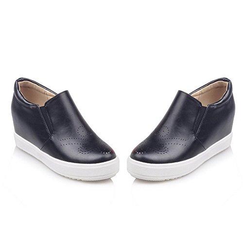 AllhqFashion Damen Rein Weiches Material Hoher Absatz Rund Ziehen auf Zehe Pumps Schuhe Schwarz